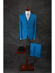 Suits Tailored Fit Notch Single Breasted One-button Cotton Blend Solid 3 Pieces Ocean Blue