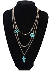 Fashion Imitation Turquoise Cross Multilayer Necklace