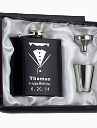 Gift Groomsman Personalized 4 Pieces Black Stainless Steel 6-oz Flask  in Gift Box