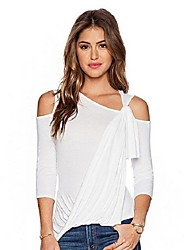 Women's Solid ¾ Sleeve Slim Off-The-Shoulder Irregular T-shirt