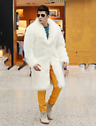 Men's Fur Coat,Solid Long Sleeve Winter Faux Fur Fox Fur