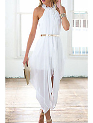 Women's  Elegant Sheer Chiffon Hi Low Dress
