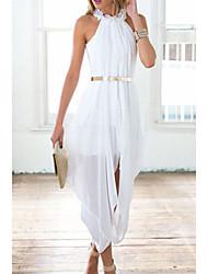 Women's  Elegant Sheer Chiffon Hi Low Dress