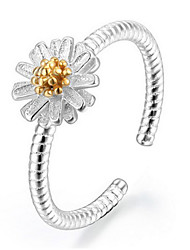 S925 Fine Silver Daisy Flower Shape Adjustable Ring Fine Jewelry
