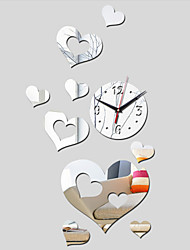 Acrylic DIY 3D Mirror Home Decor Hearts Wall Clock Mirror Surface Stickers