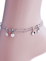 Korean Disc And Rhinestones Double Chain Anklet