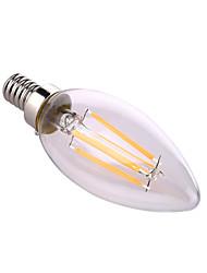 ywxlight® e12 4W 4 cob 400 lm warm wit / natuurlijke witte LED kaars lampen ac 110-130 v