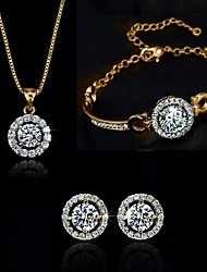 High Quality Full Crystal Round Pendant Jewelry Set Necklace Earring (Assorted Color)