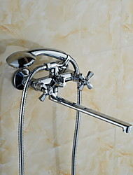 KALUD Contemporary Style Chrome Finish Brass  Faucets Wall Mounted Shower Mixer Faucet