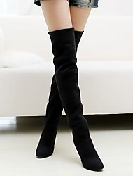 Women's Shoes Leatherette Winter Fashion Boots Outdoor / Casual Stiletto Heel Black / Brown / Gray