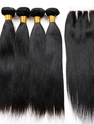 Trama do cabelo com Encerramento Cabelo Peruviano Retas 18 Meses 5 Peças tece cabelo