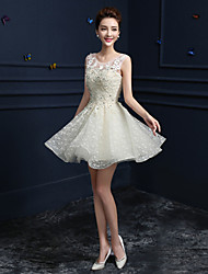 Formal Evening Dress - Champagne A-line Jewel Knee-length Lace