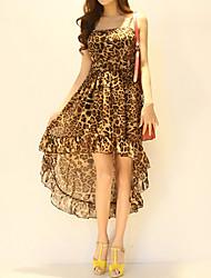 De las mujeres Vestido Vintage / Casual Leopardo Midi Con Tirantes Algodón / Poliéster
