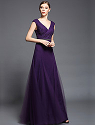 Formal Evening Dress Sheath / Column V-neck Floor-length Chiffon / Tulle / Charmeuse with Appliques / Beading / Sash / Ribbon