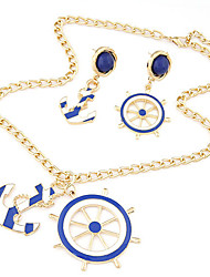 European Style Fashion Wild Temperament Metal Anchors Personality Necklace Earring Sets
