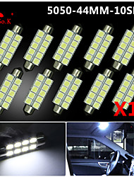 10X  White 44MM 5050 10SMD Festoon Dome Map Interior LED Light bulbs DE3423 6418 12V
