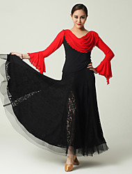 Imported Nylon Viscose and Tulle with Draped Ballroom Dance Outfits for Women's Performance (More Colors)
