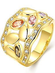 Fashion Original  Women's Cobblestone Hollow Colorized Zircon Gold Plated Brass Statement Rings(Golden)(1Pcs)