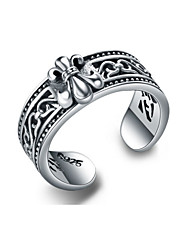Jazlyn® Thailand 925 Sterling Silver Punk Chrome Hearts Vintage Cool Hollow Cross Carving Women's Men's Band Midi Rings