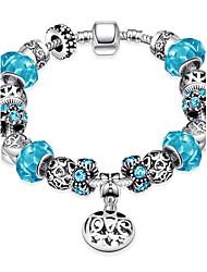 Classic Elegant  Women's  Rhinestone Stoving Varnish Glass Silver Plated Tin Alloy Charm Bracelet(Blue)(1Pc)