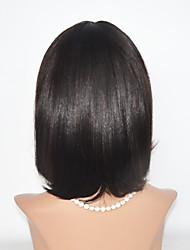2016 New Style BOB Human Hair Wigs Short Hair Wigs With Bang Straight 12inch Dark Brown Fashion Machine Made Wig
