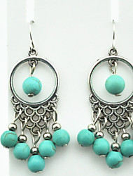 Vintage Look Antique Silver Plated Round Turquoise Beads Stone Drop Dangle Earring(1Pair)