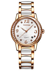 GUANQIN® High-end Luxury Fashion Thin Quartz Watch Ceramic Waterproof Sapphire Crystal Diamond 34mm Women Wristwatch Cool Watcheses With Watch Box