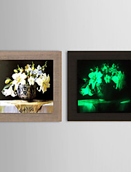 Oil Painting Noctilucent Flower Hand Natural linen linen Solid wood frame frameless paintings
