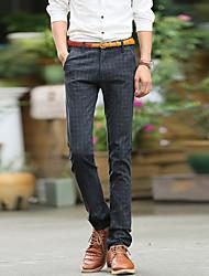 Autumn and winter leisure pants men slim feet type elastic pants men's men's British grid DP trend