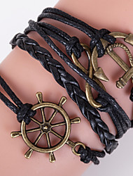 Multilayer Anchor & 8 Shape Weave Bracelet,Brown