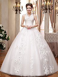 Ball Gown Wedding Dress Floor-length V-neck Lace / Satin / Tulle with Sequin / Crystal