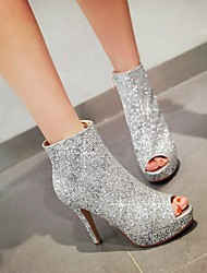 Women's Shoes Glitter Stiletto Heel Heels / Peep Toe Sandals Party & Evening / Casual Black / White / Silver / Gold