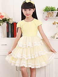 Girl's Yellow Dress,Lace Cotton Summer