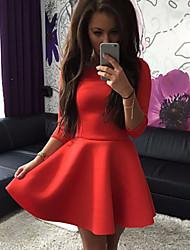 Damen Kleid - Skater Solide Mini Polyester Rundhalsausschnitt