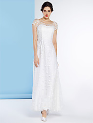Lanting Bride Sheath/Column Wedding Dress-Ankle-length Scoop Tulle