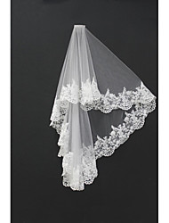 Wedding Veil Two-tier Blusher Veils / Shoulder Veils / Fingertip Veils Lace Applique Edge Tulle Ivory White / Ivory