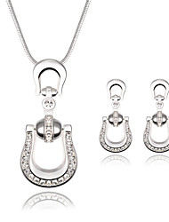 Women Wedding Bridal Silver Key Shape Zircon Pendant Necklace Earrings Two Sets Of Clavicle Chain