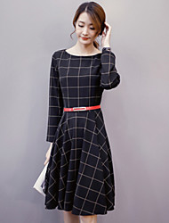 Women's Party/Cocktail Vintage Dress,Geometric Boat Neck Knee-length Long Sleeve Black Cotton / Acrylic Winter