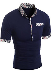 Herren T-shirt-Einfarbig Freizeit Baumwolle Kurz-Schwarz / Blau / Weiß