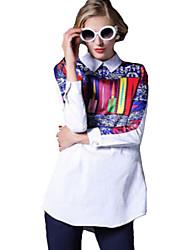 Women's Spring New Shirt Collar Long Sleeve Print White Shirt