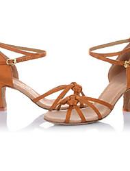 Non Customizable Women's / Kids' Dance Shoes Latin / Salsa Leatherette Cuban Heel Brown