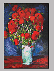 Large Hand-Painted Abstract Landscape Red Rose Floral Modern Oil Painting On Canvas Ready to Hang