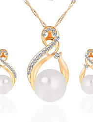 Diamond Imitation Pearl Alloy Earrings Necklace Set(1Set)