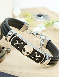 Men's PU Leather Skull Titanium Steel  Bracelet