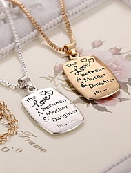 New Arrival Letter Mom Daughter Alloy Pendant Necklace