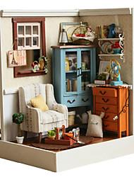 regalos creativos del regalo del arte DIY del modelo de la choza de cumpleaños de muñecas de madera bricolaje incluyendo toda lámpara de