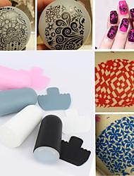 1 Satz Nagelkunst Stempel und Schaber-Set, DIY Nagelschönheitsdekoration Stempel Vorlage Tools 4 Farben (Radom-Farbe)