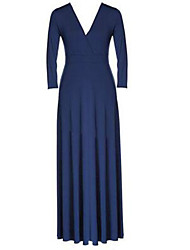 Women's Casual / Plus Sizes Solid Ball Gown Dress , V Neck Maxi Polyester