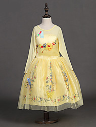 Girl's Yellow Dress , Floral Polyester Spring / Fall