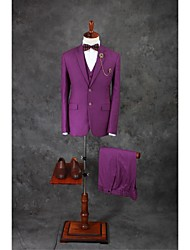 Suits Tailored Fit Notch Single Breasted Two-buttons Cotton Blend Solid 3 Pieces Purple
